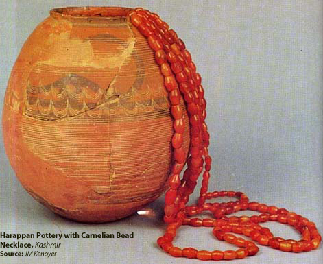Harappan Pottery with Carnelian Bead Necklace, Burzhoke, Kashmir. Source - JM Kenoyer