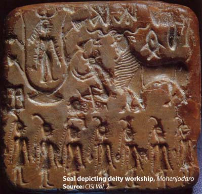 Seal depicting deity worship, Mohenjodaro. Source CISI V2